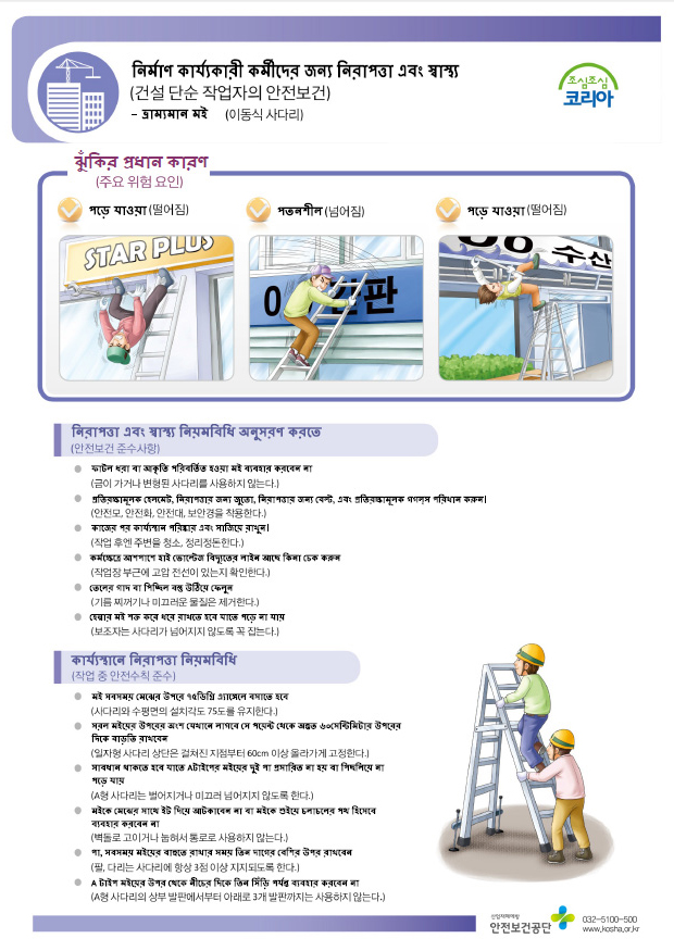 Safety and Healthcare Manual for Foreign Workers-Manufacturing Industry : Moving scaffolding 외국인 근로자 안전보건 매뉴얼 - 제조업 : 이동식 비계