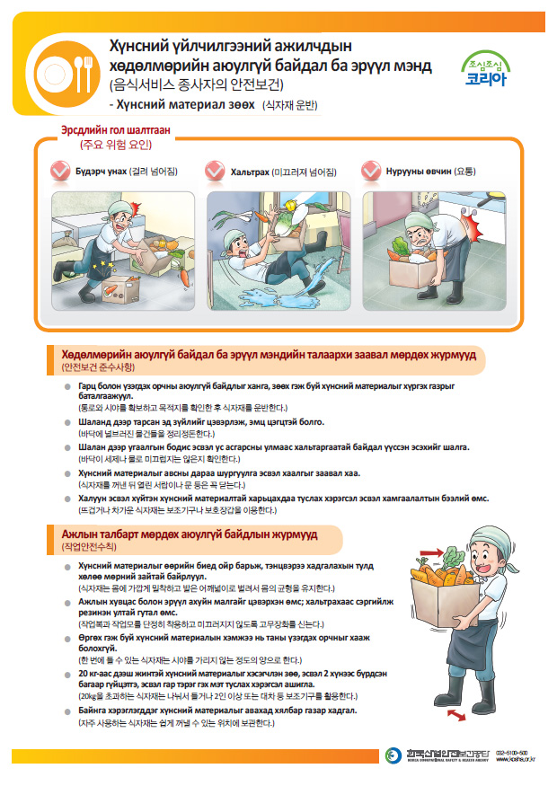 Safety and Healthcare Manual for Foreign Workers<Service Industry>외국인 근로자 안전보건 매뉴얼<서비스업>